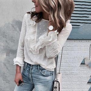 Tops - Sheer Feminine Bell Sleeve White Blouse